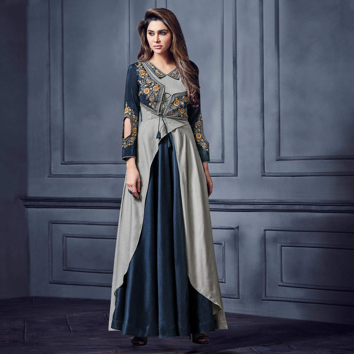 Magnetic Grey-Navy Blue Colored Partywear Embroidered Two Tone Silk Gown