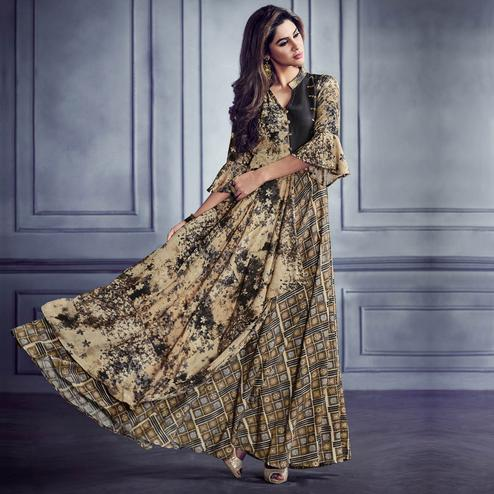 Attractive Beige Colored Partywear Printed Rayon Gown