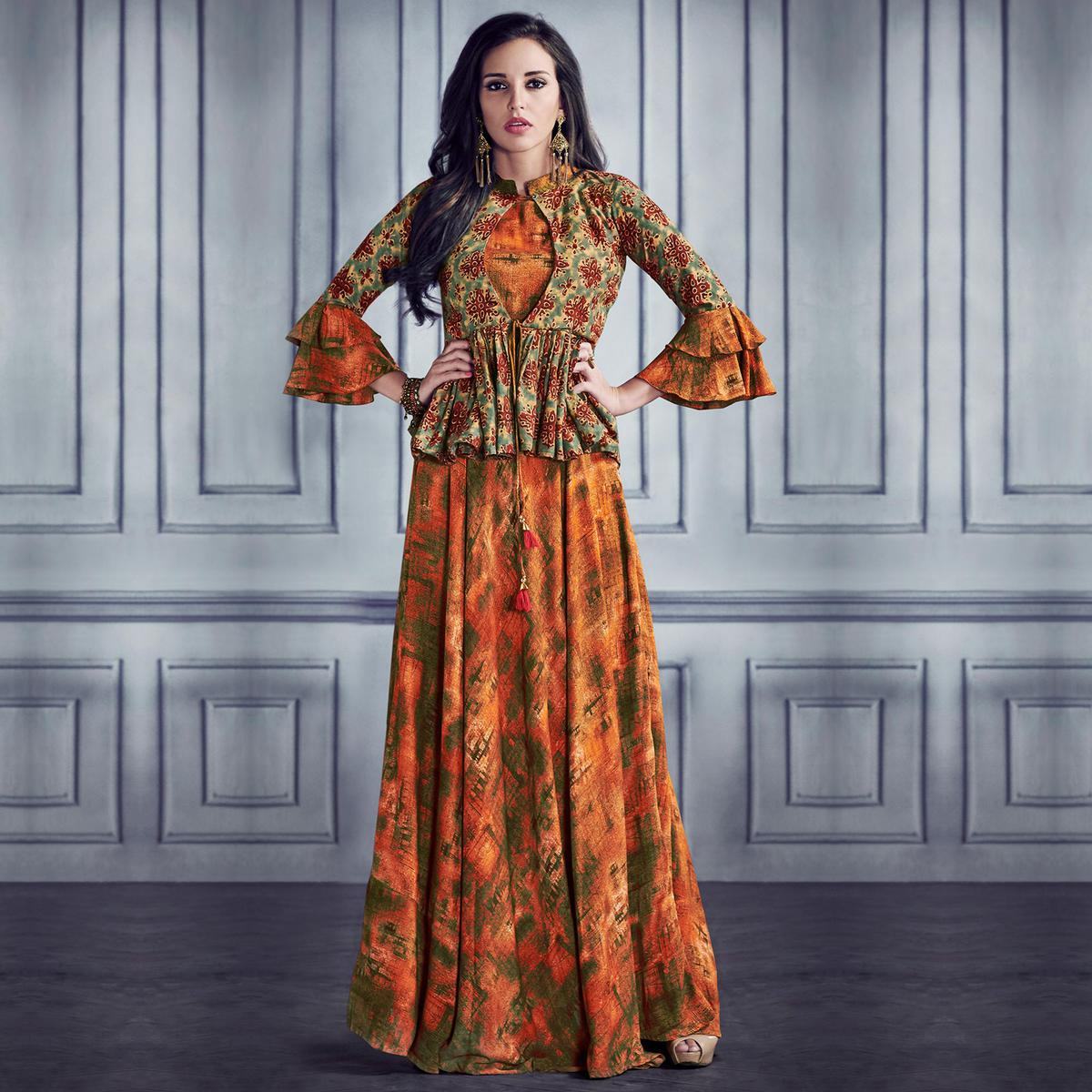 Unique Orange Colored Partywear Printed Rayon Gown