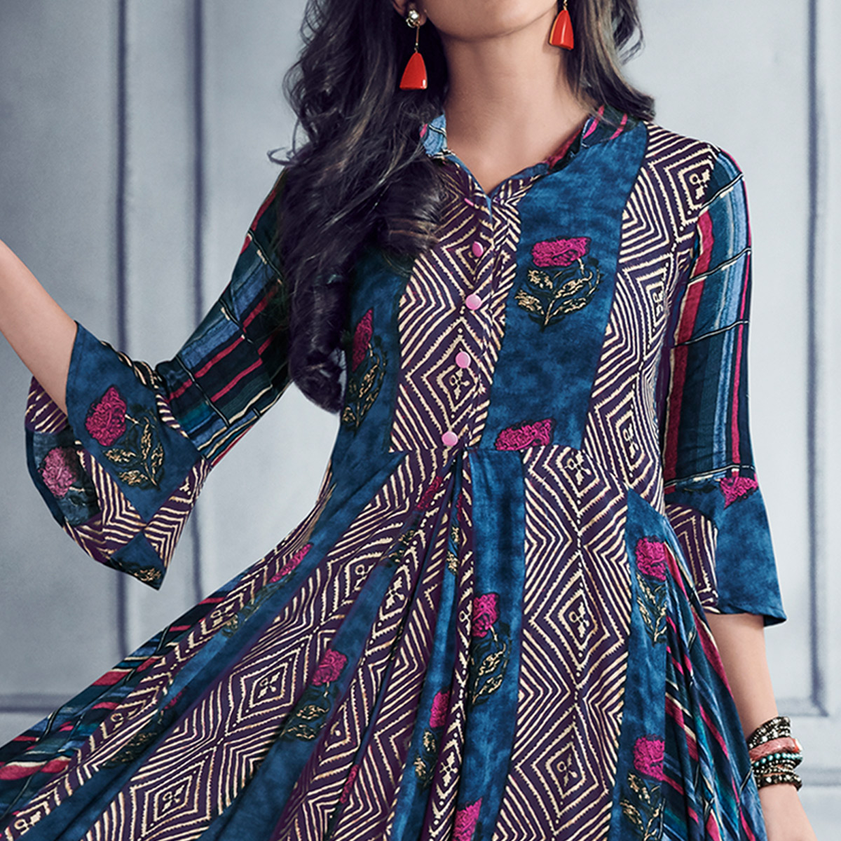 Impressive Blue Colored Partywear Printed Rayon Gown