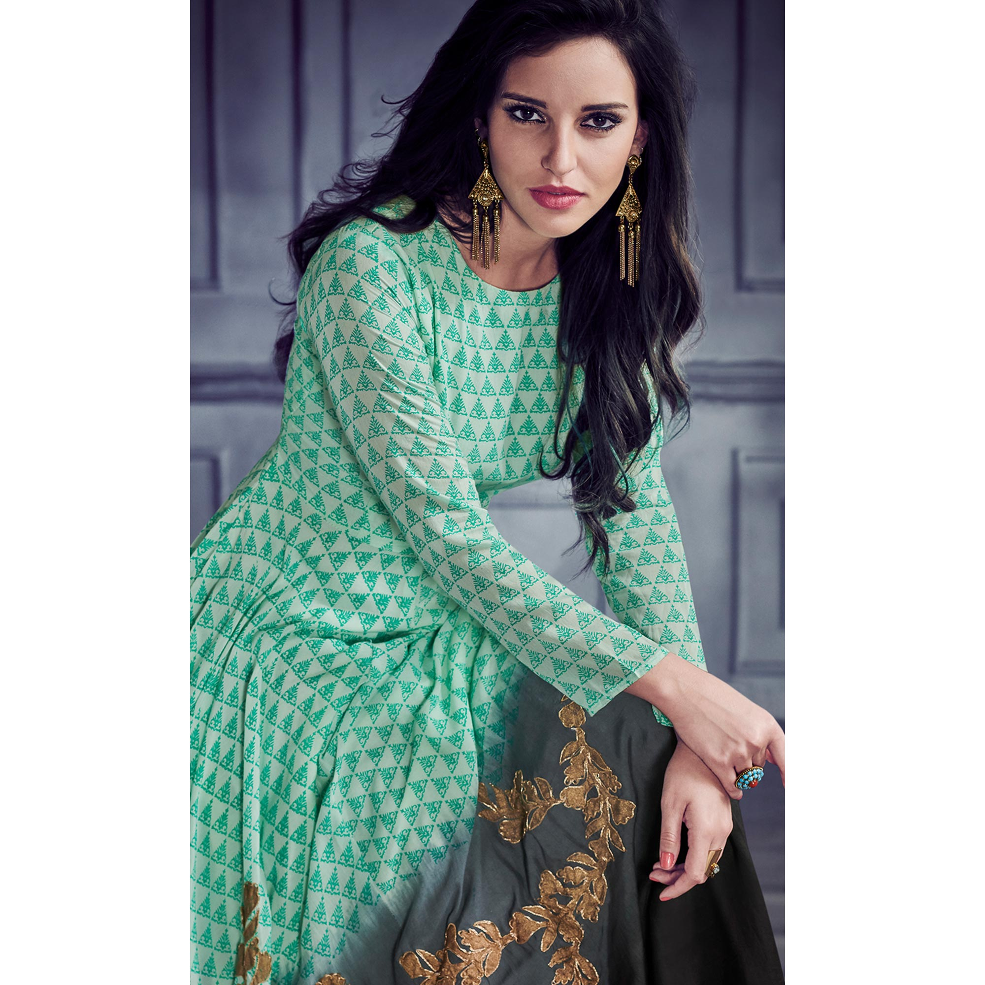 Gorgeous Green Colored Partywear Printed Rayon Gown