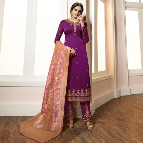 Glowing Purple Colored Partywear Embroidered Satin-Georgette Suit With Banarasi Silk Dupatta