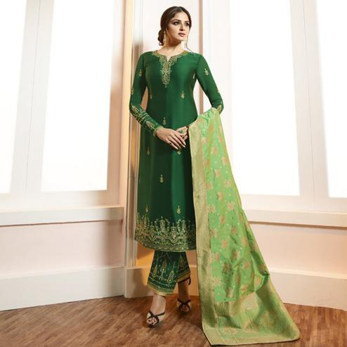Exceptional Green Colored Partywear Embroidered Satin-Georgette Suit With Banarasi Silk Dupatta