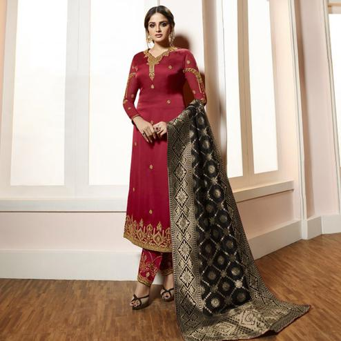 Gleaming Red Colored Partywear Embroidered Satin-Georgette Suit With Banarasi Silk Dupatta