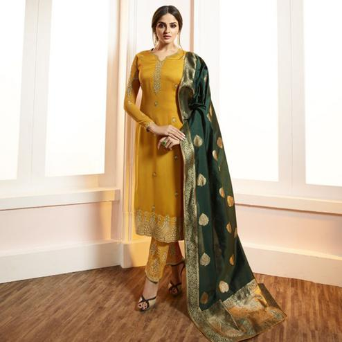 Mesmeric Yellow Colored Partywear Embroidered Satin-Georgette Suit With Banarasi Silk Dupatta