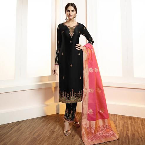 Unique Black Colored Partywear Embroidered Satin-Georgette Suit With Banarasi Silk Dupatta