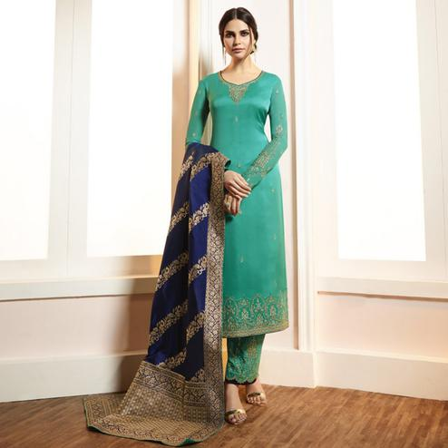 Jazzy Turquoise Green Colored Partywear Embroidered Satin-Georgette Suit With Banarasi Silk Dupatta