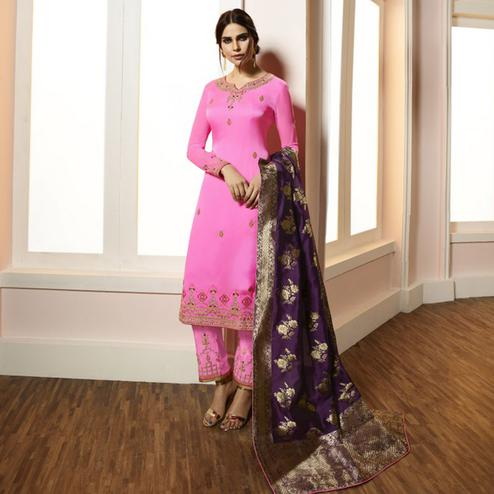 Refreshing Pink Colored Partywear Embroidered Satin-Georgette Suit With Banarasi Silk Dupatta