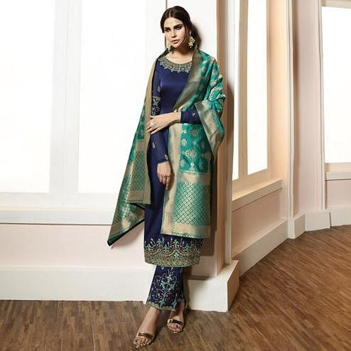 Magnetic Navy Blue Colored Partywear Embroidered Satin-Georgette Suit With Banarasi Silk Dupatta