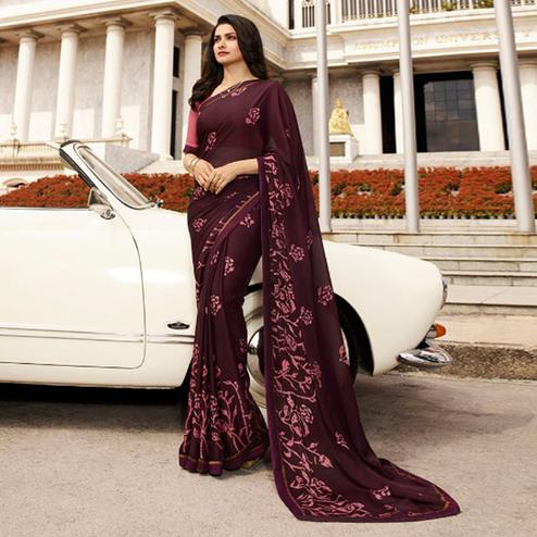 Engrossing Wine Colored Casual Printed Silk Saree