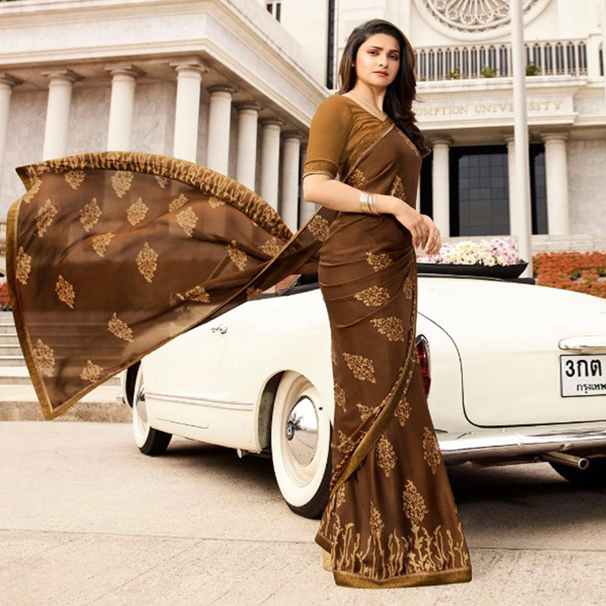 Captivating Brown Colored Casual Printed Silk Saree