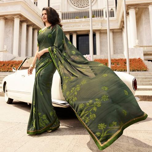 Innovative Seaweed Green Colored Casual Printed Silk Saree