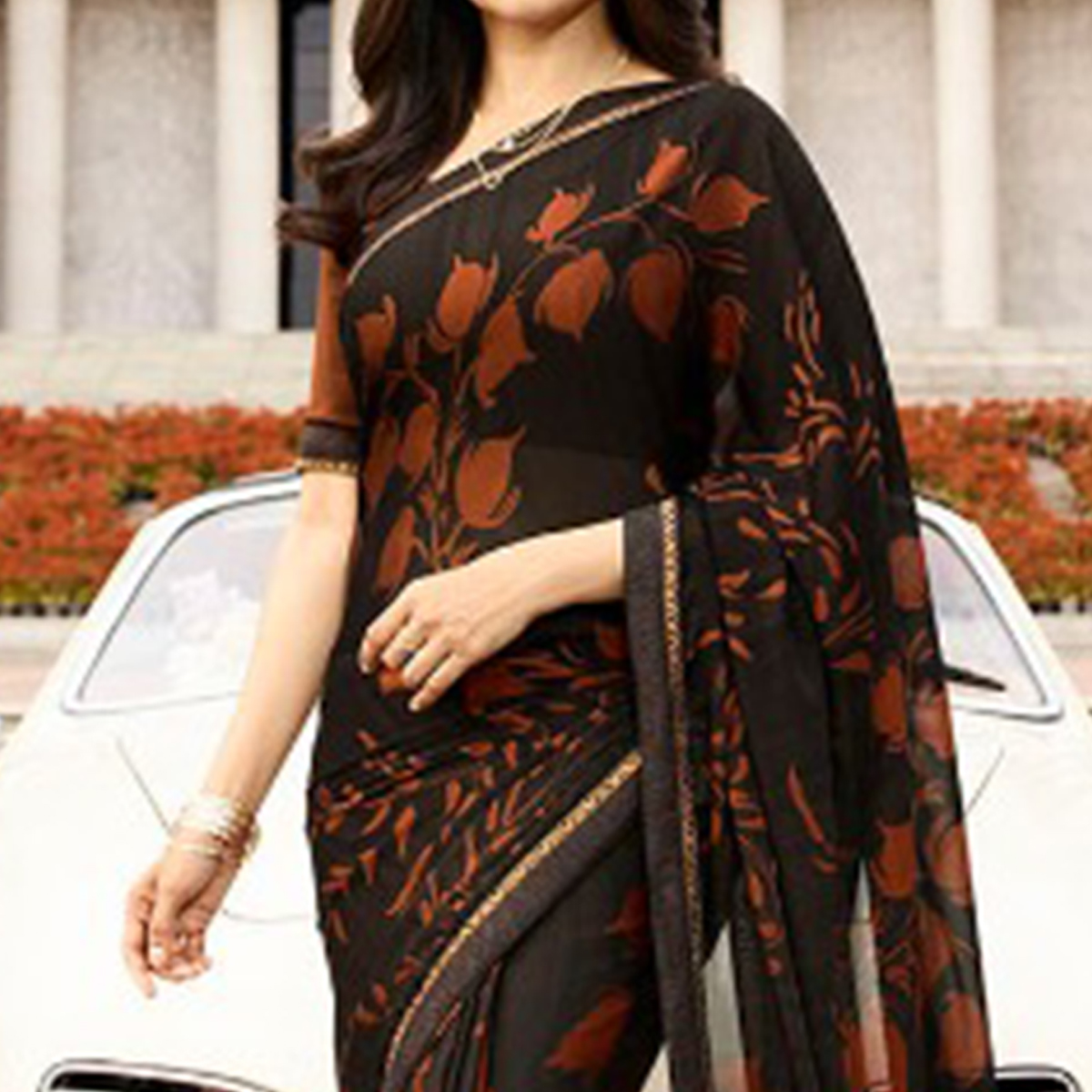 Eye-catching Black Colored Casual Printed Silk Saree