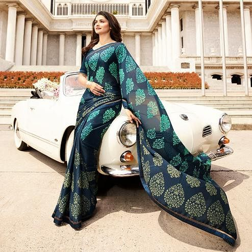 Fantastic Navy Blue Colored Casual Printed Silk Saree