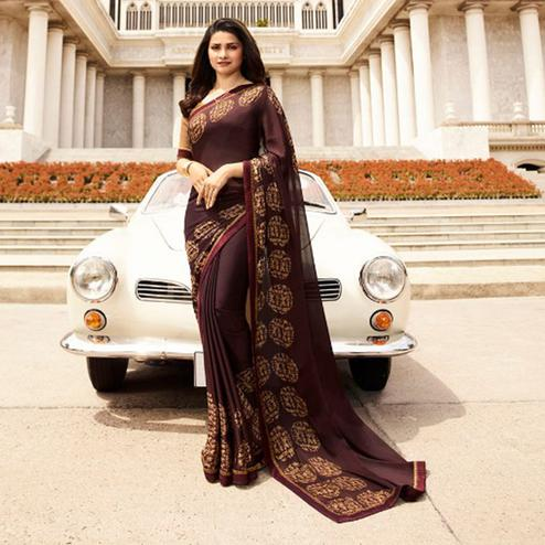 Amazing Coffee Bean Colored Casual Printed Silk Saree
