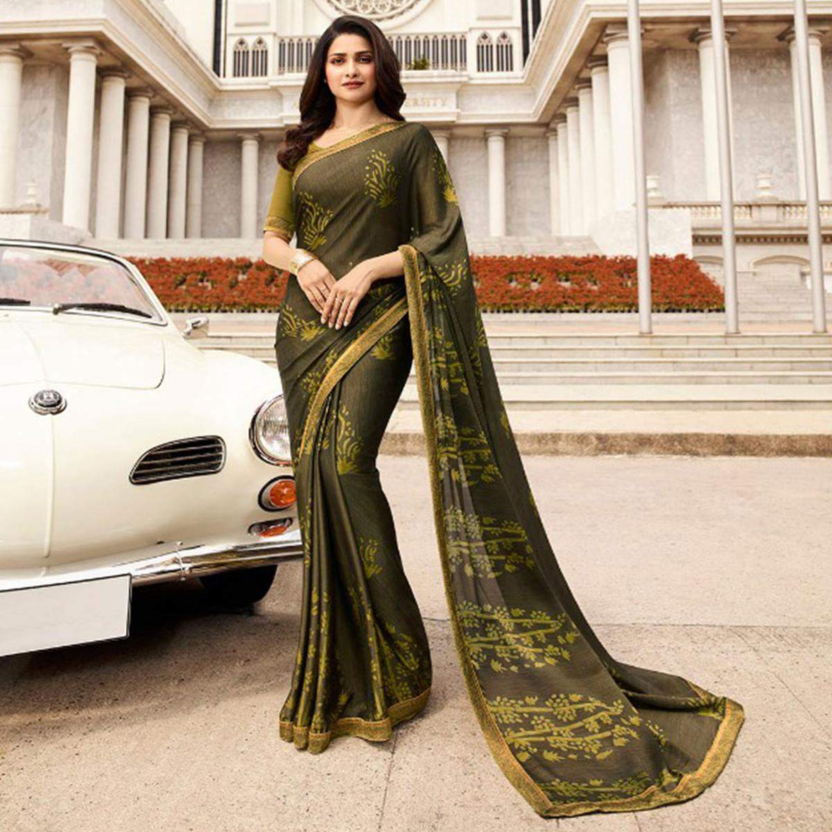 Gorgeous Green Colored Casual Printed Silk Saree