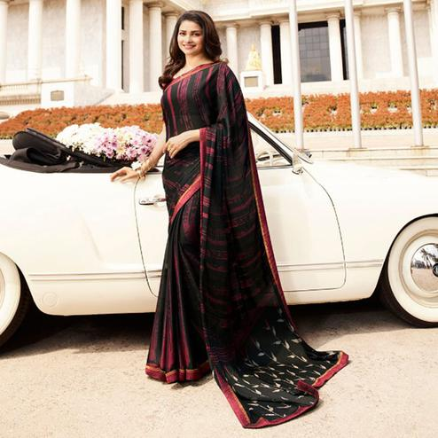 Blissful Black Colored Casual Printed Silk Saree