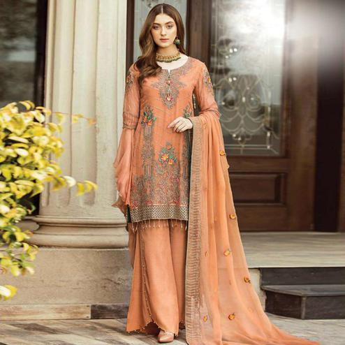 Appealing Peach Colored Partywear Embroidered Georgette Palazzo Suit