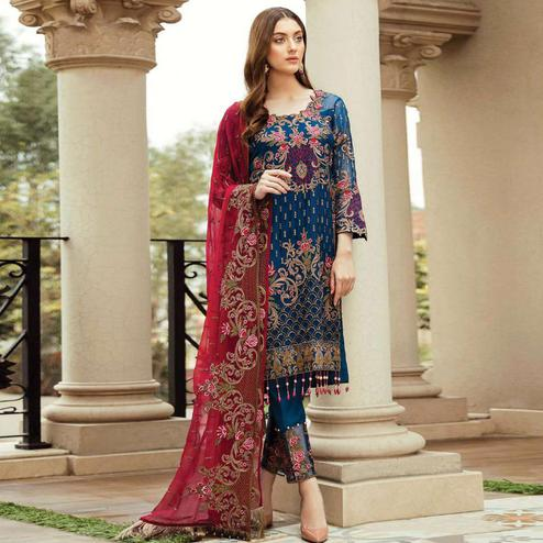 Entrancing Dark Rama Blue Colored Partywear Embroidered Georgette Pant Style Suit