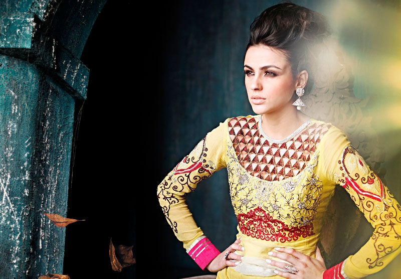 Yellow Embroidered Work Anarkali