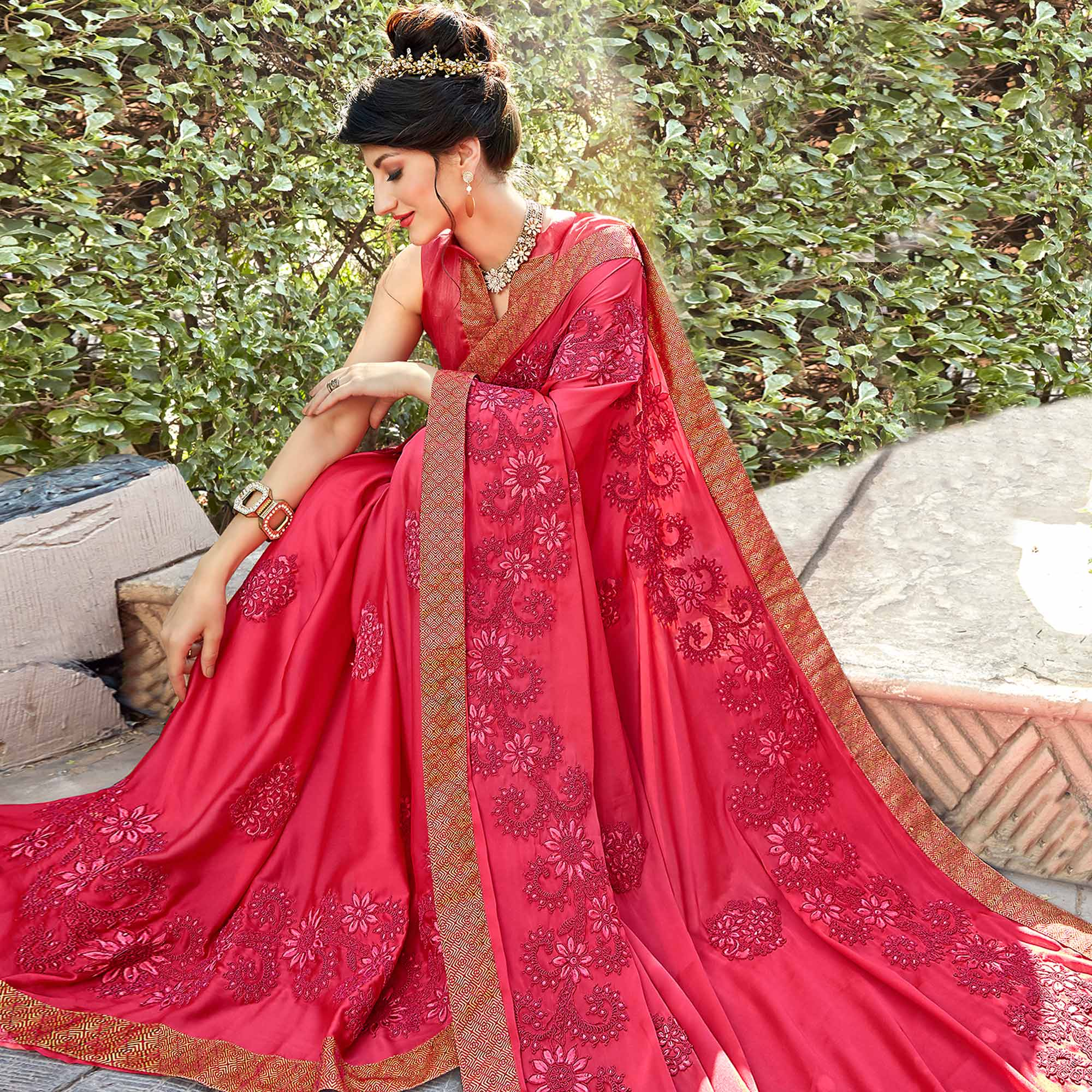 Charming Pink Colored Partywear Embroidered Georgette Saree