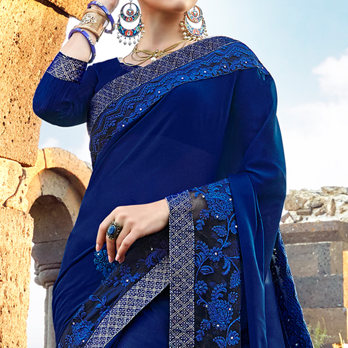 Delightful Navy Blue Colored Partywear Embroidered Georgette Saree