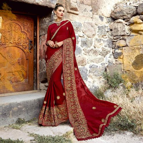 Engrossing Maroon Colored Partywear Embroidered Georgette Saree