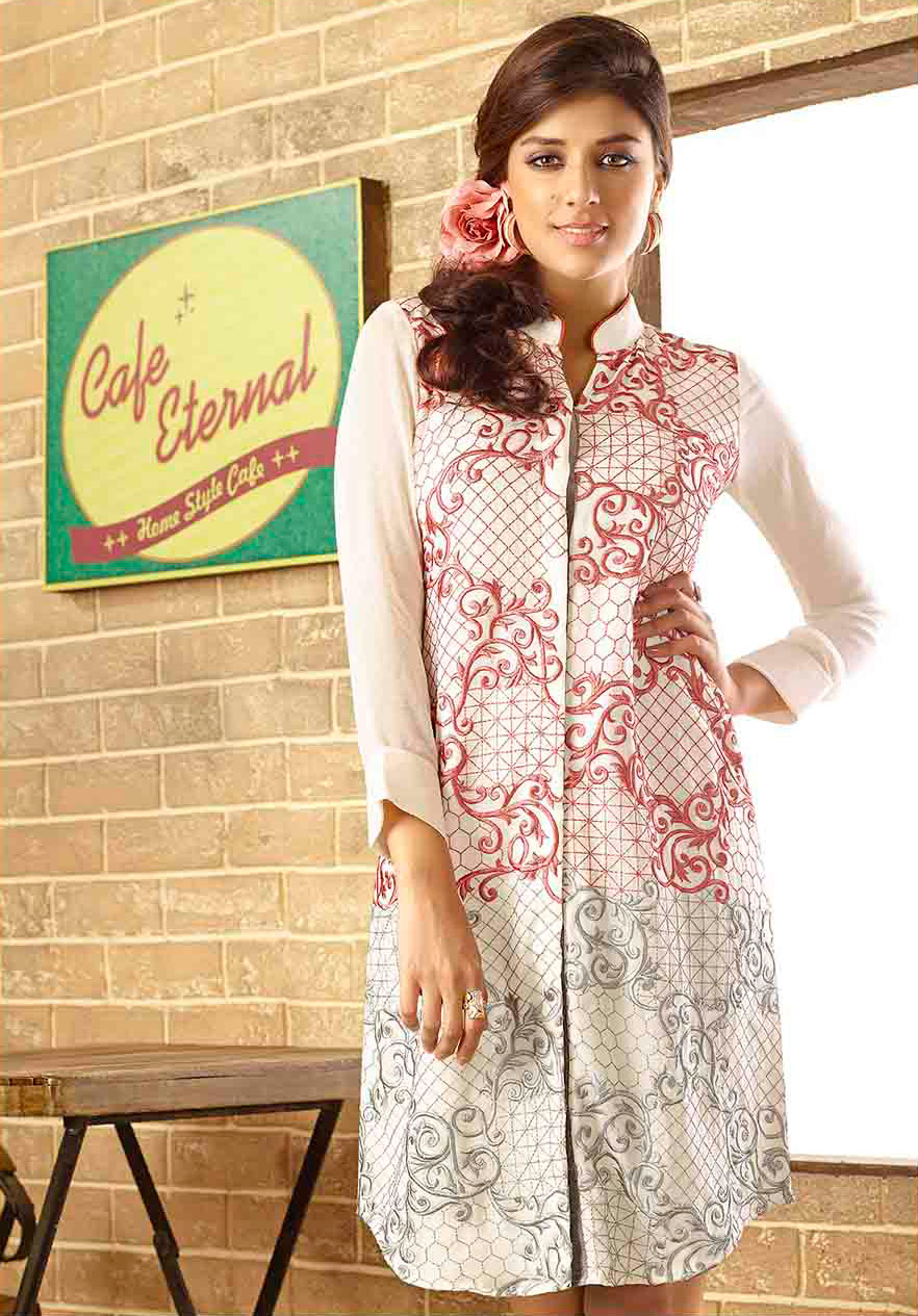 White Embroidered Work Georgette Tunic