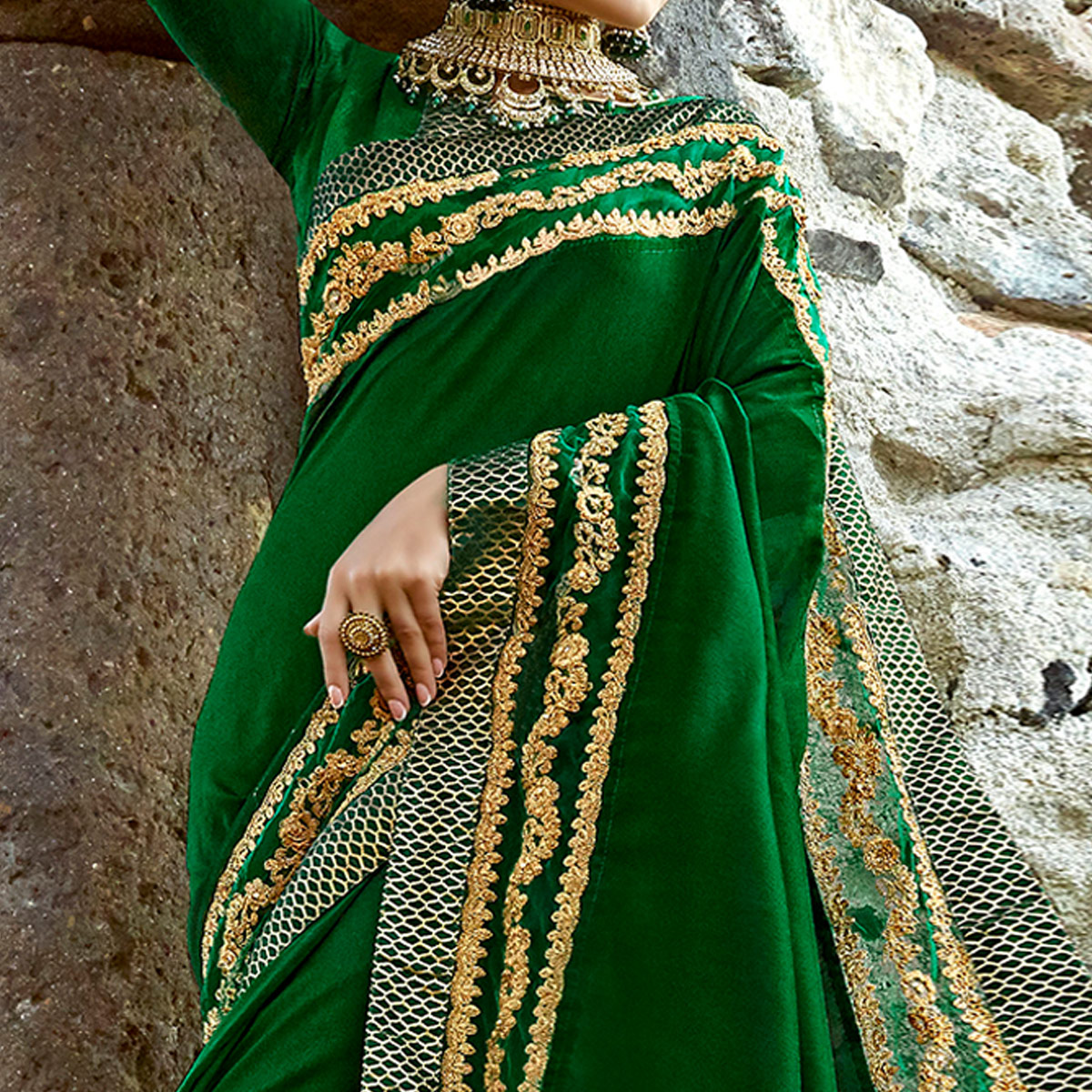 Gorgeous Dark Green Colored Partywear Embroidered Georgette Saree