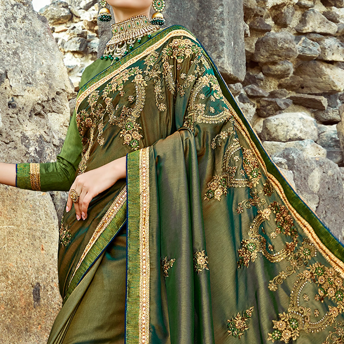 Fantastic Olive Green Colored Partywear Embroidered Georgette Saree