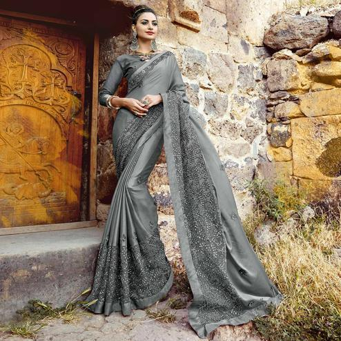Amazing Gray Colored Partywear Embroidered Georgette Saree