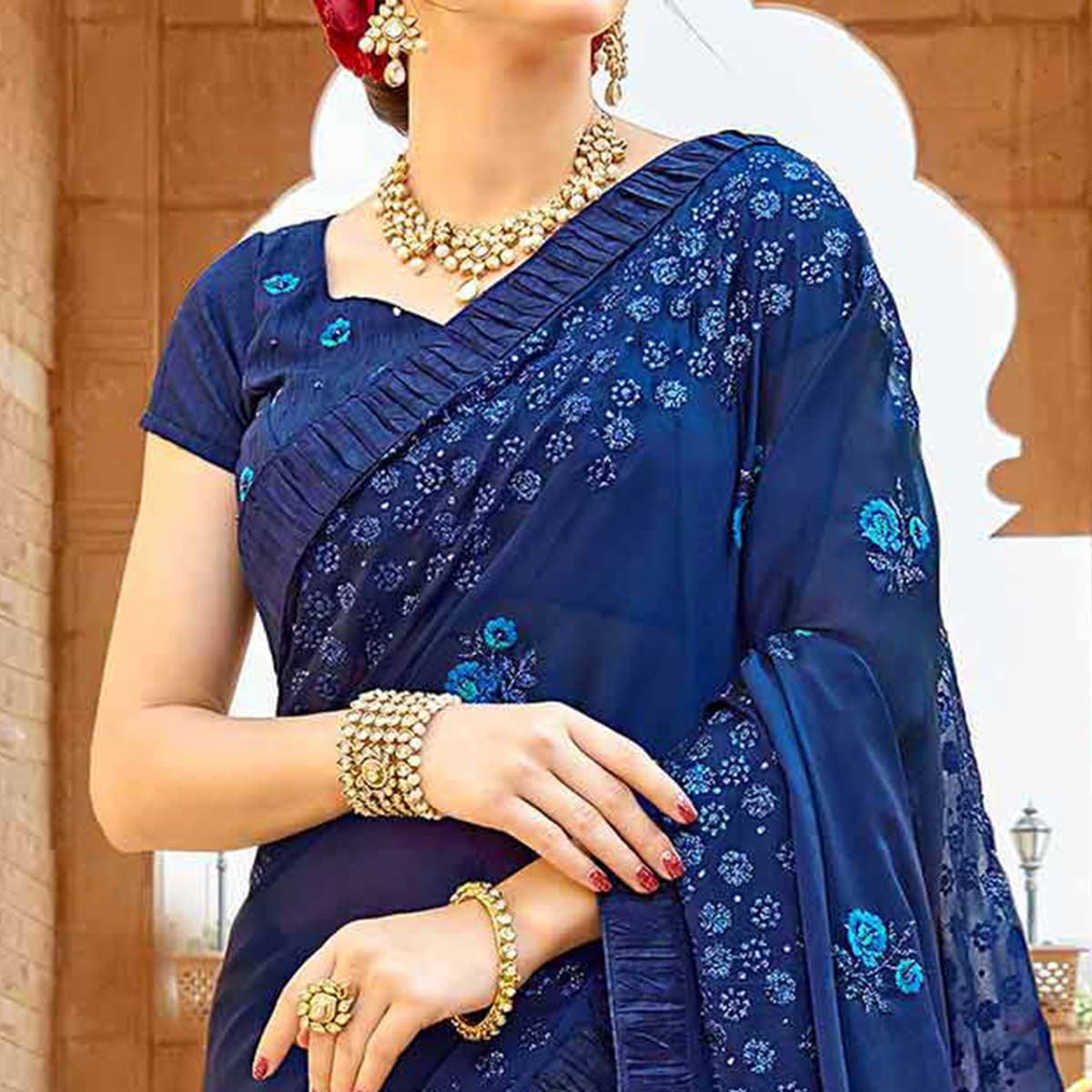 Breathtaking Navy Blue Colored Partywear Embroidered Georgette Saree