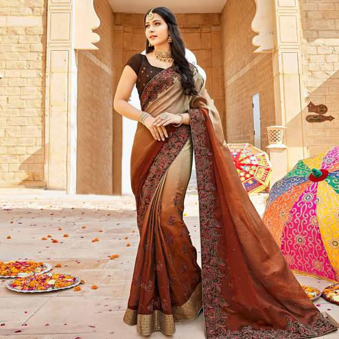 Staring Shaded Brown Colored Partywear Embroidered Georgette Saree