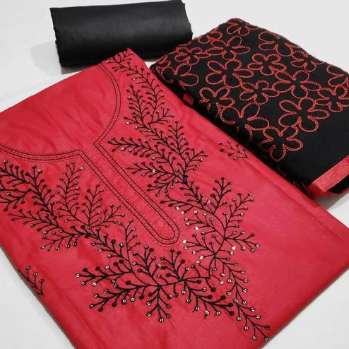 Radiant Red Colored Partywear Embroidered Cotton Dress Material