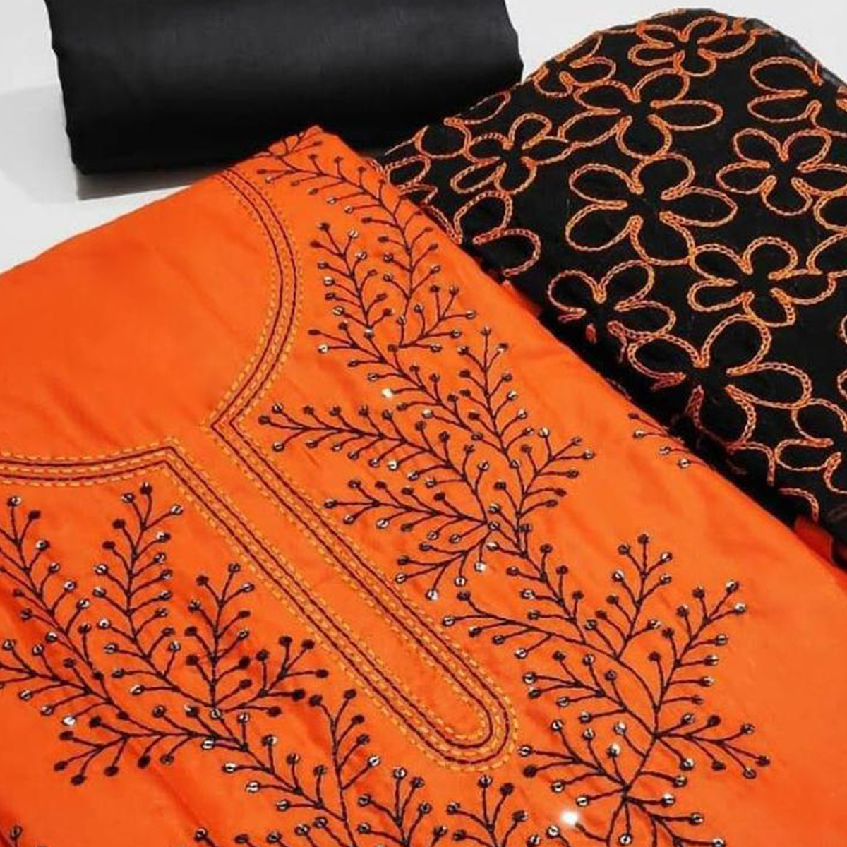 Opulent Orange Colored Partywear Embroidered Cotton Dress Material