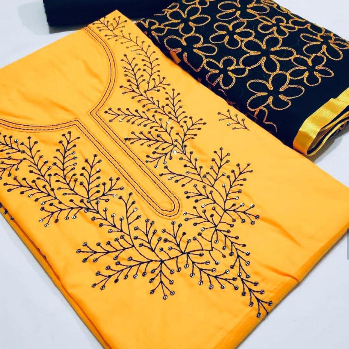 Energetic Yellow Colored Partywear Embroidered Cotton Dress Material