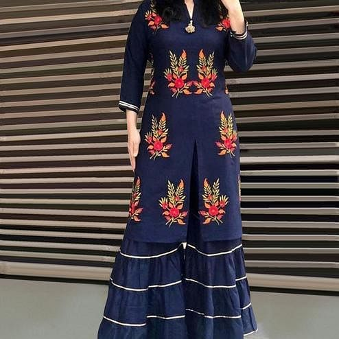 Exceptional Navy Blue Colored Partywear Embroidered Rayon Palazzo Suit