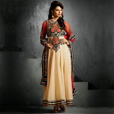 Beige Floral Work Anarkali Suit