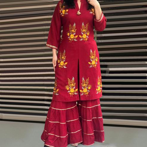 Mesmeric Red Colored Partywear Embroidered Rayon Palazzo Suit