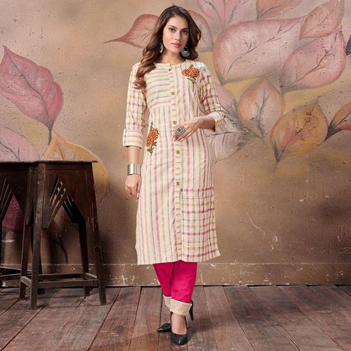 Flaunt Cream Colored Casual Embroidered Cotton Kurti-Bottom Set
