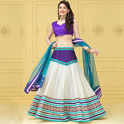 Off White - Purple Embroidered Work Lehenga Choli