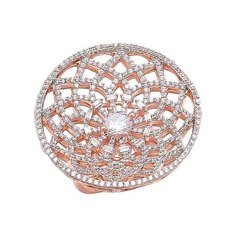 Engrossing Rose Gold Polished American Diamond Adjustable Cocktail Ring