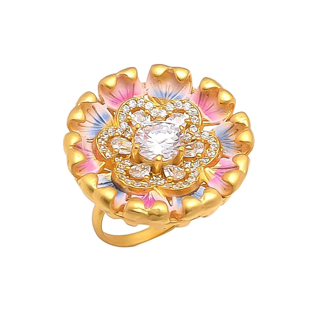 Eye-Catching Multi Colored Meena American Diamond Cocktail Ring