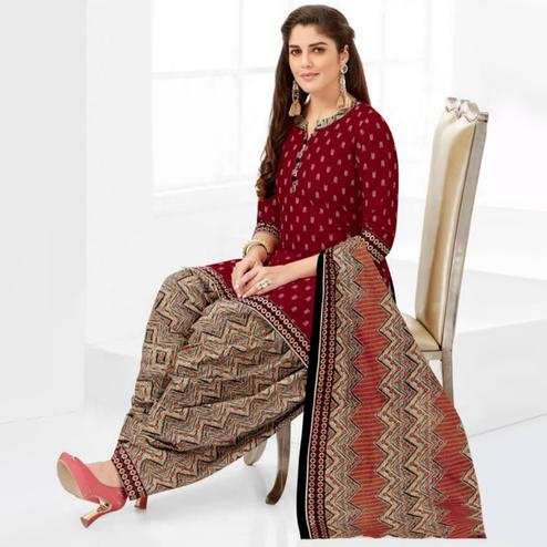 Lovely Maroon Casual Printed Crepe Patiala Suit