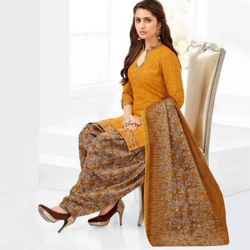 Classy Yellow Casual Printed Crepe Patiala Suit