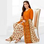 Demanding Orange Casual Printed Crepe Patiala Suit