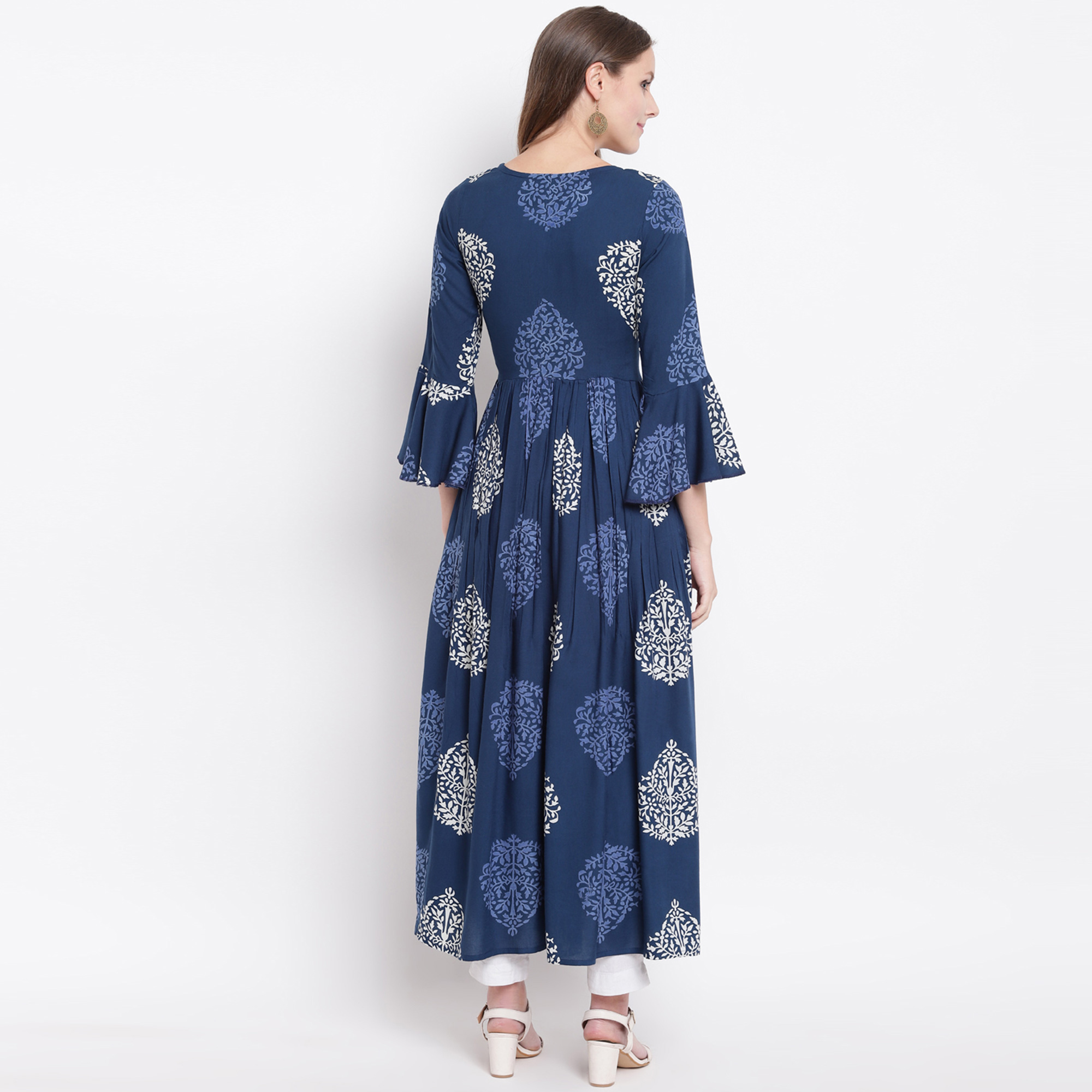 Intricate Navy Blue Colored Casual Floral Printed Rayon Kurti