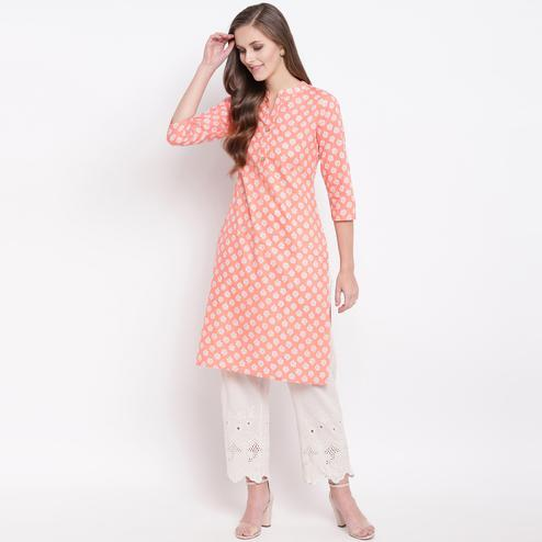 Desirable Peach Colored Casual Printed Cotton Kurti