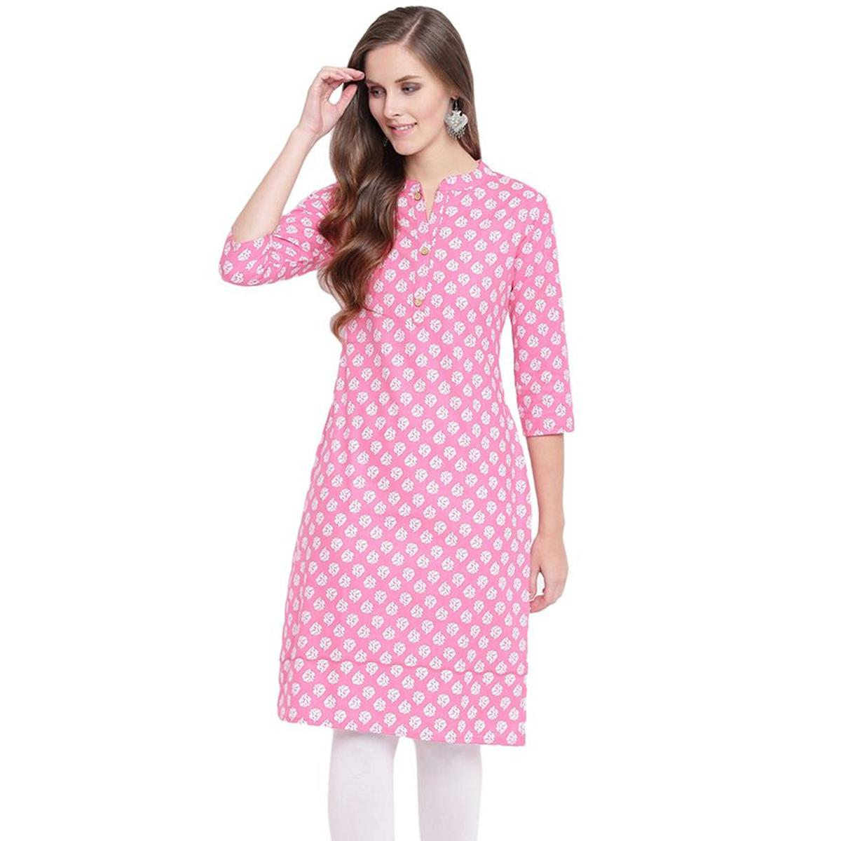 Exotic Pink Colored Casual Printed Cotton Kurti