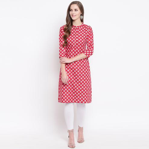 Sophisticated Red Colored Casual Printed Cotton Kurti